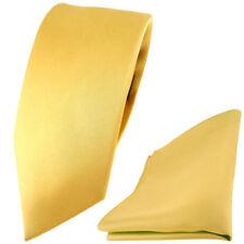 schmale TigerTie Satin Seidenkrawatte Seideneinstecktuch Gold einfarbig