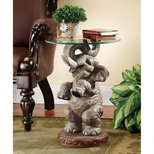 "Good Fortune African Exotic Elephant Sculpture  21½"" Glass Topped Side Table"