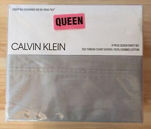 Calvin Klein 4 Piece 320 Thread Count Full Sheet Set Queen New