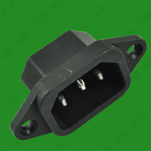 1x IEC Male Panel Chasis Mount Socket 250V 10A, Kettle Lead Rewireable