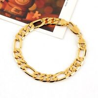 "COOL 24k Yellow Gold Filled Men Bracelets 7.9""Curb Chain Link GF Costume Jewelry"