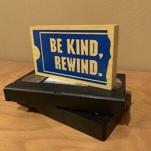 Be Kind Rewind Handmade Wooden Sign Blockbuster Video VHS Decor