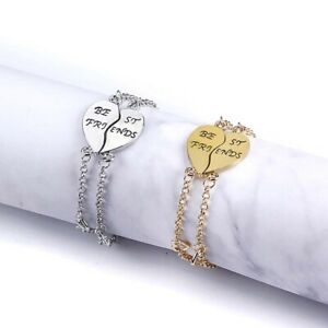 2 Pcs/Set Best Friends Bracelets For Women Heart Jewelry Gift Forever