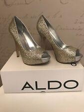 Ladies Aldo Hayth Glitter Silver Heels Shoes Uk 5