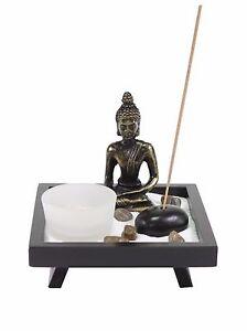 Tabletop Buddha Zen Garden Rock Candle Holder Incense Burner Gift & Home Decor