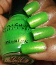 NEW! SINFUL COLORS Nail Polish Lacquer in HAPPY ENDING ~ BRIGHT GREEN SHIMMER