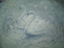 Vintage SMALL BLUE SWAN BIRD Themed Fabric Remnant (30cm x35cm)