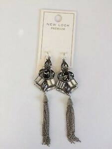 BNWT New Look Premium Earrings Statement Dangle Jewel Tassels Silver Gift Chain