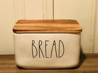 Rae Dunn Artisan Collection By Magenta BREAD Box Ceramic Cellar w Wooden Lid