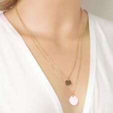 -UK- Gold Tone Hammered Double Disc Coin Pendant Link Chain Necklace Hot BOHO