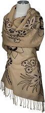 Schal scarf ècharpe 100%Wolle wool hand bestickt hand embroidered beige