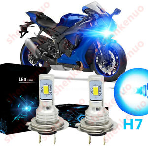 2pc Ice Blue H7 LED Headlight Bulb 8000K 100W BY For Yamaha YZF R1 R3 2007-2018