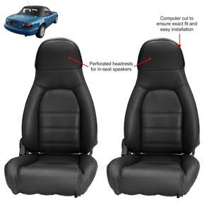 Mazda Miata Seat covers Fits 1990-1996 Pair of Black Leatherette Standard seats