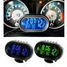 Car LCD Digital Clock In/Outdoor Temperature Thermometer Voltage Meter