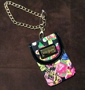 BETSEY JOHNSON CELL PHONE FLORAL WRISTLET GOLD CHAIN COIN PURSE