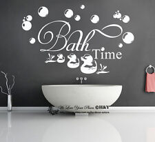 Bath Time Wall Art Quotes Removable Vinyl Wall Stickers Lettering Kids Decal DIY