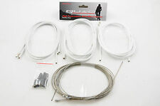 RACING BIKE / FIXIE STAINLESS STEEL BRAKE & GEAR CABLE SET WHITE QUAD 50% OFF