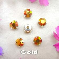 10 x 8mm GOLD STRASS CUT CRYSTAL SILVER BASE SEW ON EMBELLISHMENTS BUTTONS