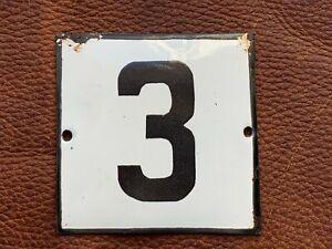 Number 3 Vintage Enamel House Numbers Made in Europe House Number Room Hotel