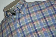 14296-a Mens Polo Ralph Lauren Dress Shirt Blue Plaids Size Small Custom Fit