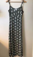 FLAX Sz S Small Hawaiian 🌺 Floral Long Maxi Dress Spaghetti Strap Green White