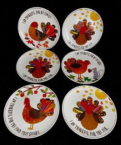 Pottery Barn Kids Melamine Plates Set of 6 Thanksgiving Turkey Family White EUC