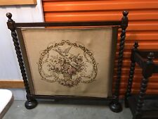 Antique English Oak Tapestry Fireplace Screen Barley Twist Supports c1900