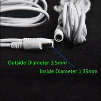 2pcs White 10ft DC 5V Extension Power Cable 3.5*1.35mm 4 IP Camera easy ZX