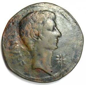 Octavian and Divus Julius Caesar AE Sestertius Coin 38 BC - Good Fine / VF
