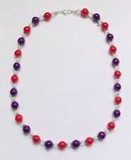 Stunning Ruby Red White Purple Glass Pearls & Italian Crystal Necklace