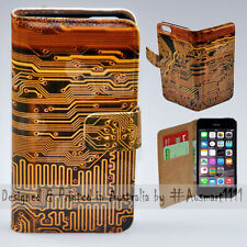 Wallet Phone Case Flip Cover for iPhone 5 5S - Electronic Circuit Board Print