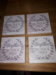 4 X Grey Decorative Family Wood Look Drink Coasters