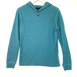 Volcom murphy thermal long sleeve top hooded teal green boys size large 12y