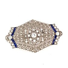 Fabulous Unique Old Vintage Design With Real White CZ & Blue Sapphire Brooch Pin