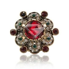 Hot Selling Flower Retro Copper Plated Vintage Crystal Jewelry Rings BM