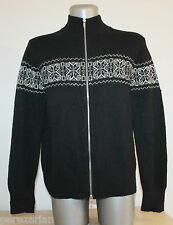 Womens Jacket Cardigan Zip 70% LAMBWooL 20% ANGora fairisle Norway Nordic XXL