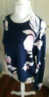 OASIS Navy Blue Black White Flower Print Jumper Size L