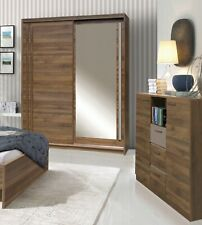 2 Door Mirrored Sliding Wardrobe-WALLIS/Light WENGE-COLUMBIA.EFFECT.EF3-150.NEW.
