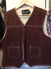 Vintage SEARS Leather Shop Brown Color Suede  Sherpa Vest Jacket. Size L