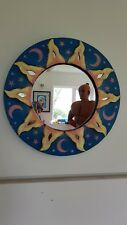 Original Wendy Earley papier mache sun mirror. Rustic. One of a kind