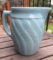 "Vintage MONMOUTH USA BLUE Swirl Stoneware Pitcher 6"" tall"