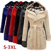 Women's Warm Winter Hooded Long Jacket Outwear Parka Tops Overcoat Pea Coat Plus