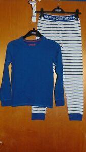 M&S 'Happy Christmas' Pyjamas Cotton Rich 2 Pt Set 9-10y 140cm Blue Mix BNWoT