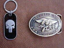 U.S. NAVY SEAL TEAM - SNIPER PUNISHER Keyring and Brass Plated Belt Buckle Combo