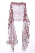 Berry Red Off White & Charcoal Patterned Print Casual Everyday Wrap Scarf (s104)