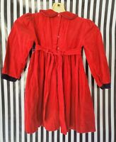 Vintage Smocked Handmade Red Dress Infant Baby Girl Christmas  Dress