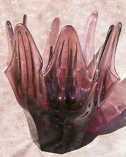 Vintage Modern Swung Stretch Purple Art Glass Ground Bottom Centerpiece Bowl