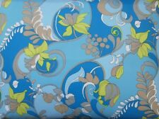 "Vintage 1960's Blue, Beige, Yellow & White Floral Pucciesque Fabric 38"" x 178"""