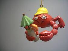 Tropical Beach Sea Life Crab Baseball Cap Umbrella Drink Xmas Ornament New