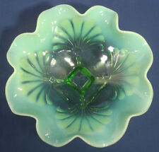 Vtg Antique Fenton Art Glass Green Opalescent Bowl Fern Palm Leaf pattern Old!